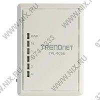 Сеть по электропроводке (Powerline) TRENDnet  TPL 405E  500Mbps Powerline AV Adapter  4UTP 10 100 1000 Mbps  Powerline 500Mbps